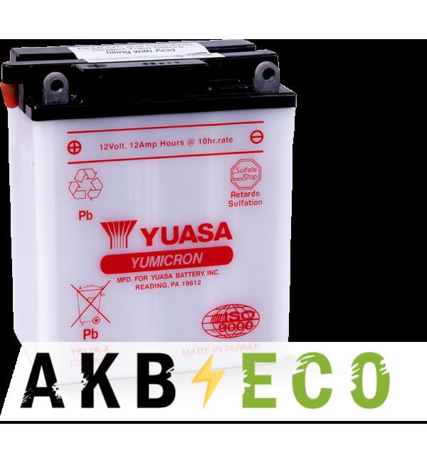 Мотоциклетный аккумулятор Yuasa YB12A-A 12V 12Ah 150A (134x80x160) прям. пол. Heavy Duty сухозаряж.