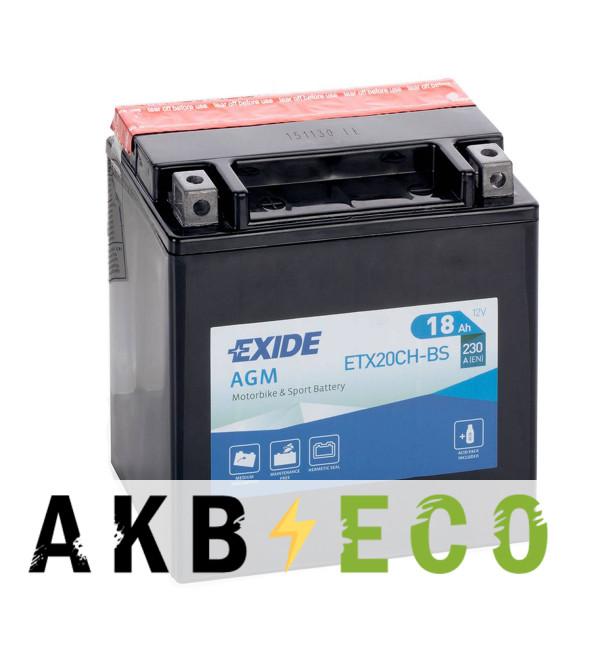 Мотоциклетный аккумулятор Exide AGM сухозаряж. ETX20CH-BS 12V 18Ah 230A (150x87x161) прям. пол.