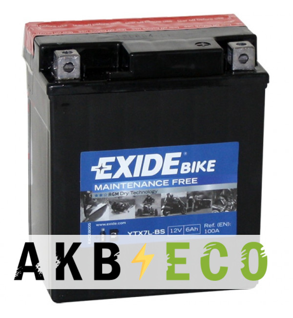 Мотоциклетный аккумулятор Exide AGM сухозаряж. ETX7L-BS 12V 6Ah 100A (113x70x130) обр. пол.