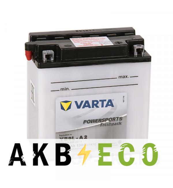 Мотоциклетный аккумулятор VARTA Powersports Freshpack YB9L-A2 9 Ач 130А (135x75x139) обр. пол. 509 016 008, сухозар.