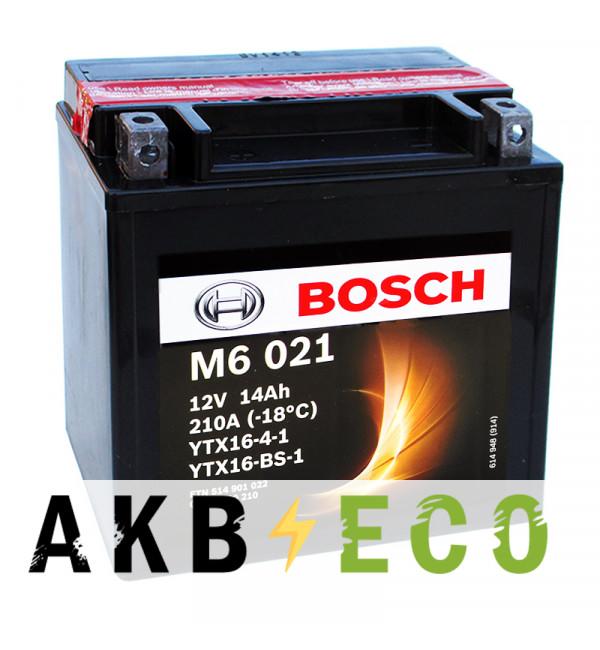 Мотоциклетный аккумулятор Bosch Moto AGM 14 Ач 210А (150x87x161) M60210 прямая пол.