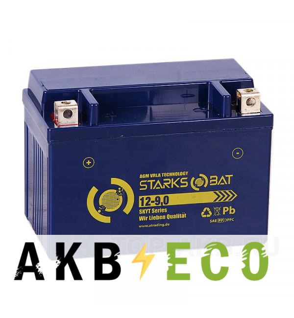 Мотоциклетный аккумулятор STARKS BAT YT 12-9.0A +- 9 ач 135A (152x87x107) YTX9-BS AGM