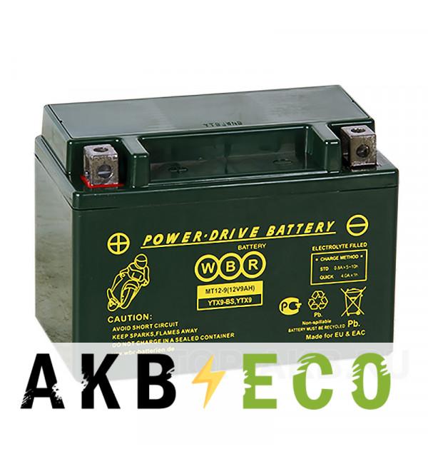Мотоциклетный аккумулятор WBR MT12-9 AGM 9 Ач 120А прямая пол.(150x87x105) YTX9-BS, YTX9