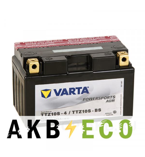Мотоциклетный аккумулятор VARTA Powersports AGM TTZ10S-4/TTZ10S-BS 12V 8Ah 150А (150x87x93) прямая пол. 508 901 015, сухозар.