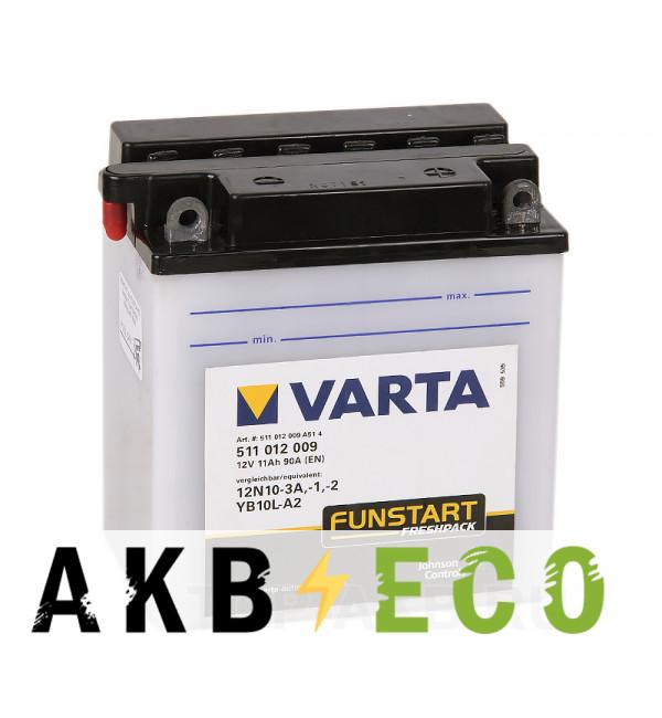Мотоциклетный аккумулятор VARTA Funstart Freshpack YB10L-A2 12V 11Ah 150А (136x91x146) обр. пол. 511 012 009, сухозар.