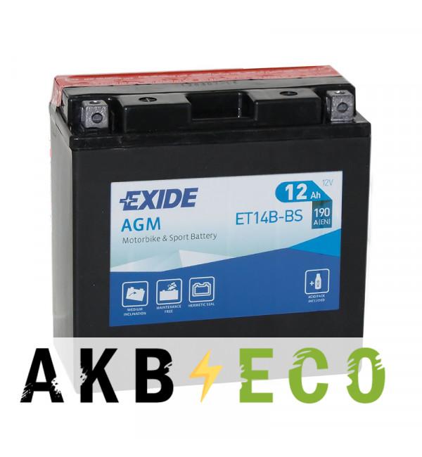 Мотоциклетный аккумулятор Exide AGM сухозаряж. ET14B-BS 12V 12Ah 190A (150x70x145) прям. пол.