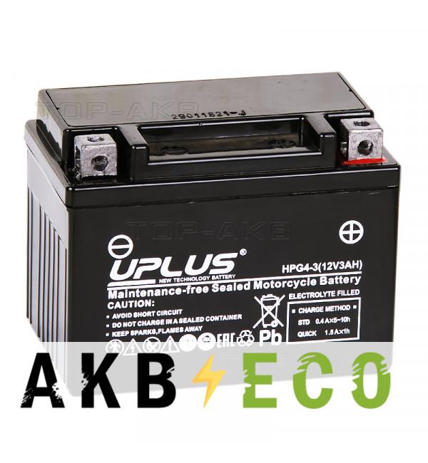 Мотоциклетный аккумулятор Uplus HPG4-3 12V 3Ah 60А обр. пол. (113x70x85) Nano GEL