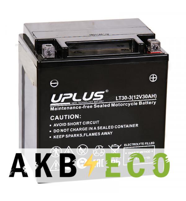 Мотоциклетный аккумулятор Uplus LT30-3 12V 30Ah 385А обр. пол. (165x125x175) Super Start AGM