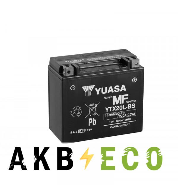 Мотоциклетный аккумулятор Yuasa YTX20L-BS - 18 Ач 270А (177x89x157) обр. пол. AGM сухозаряж.