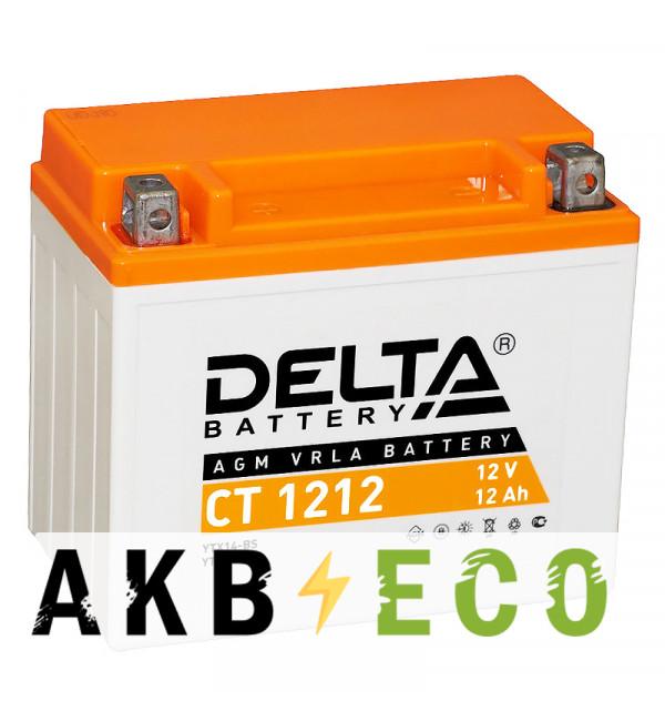 Мотоциклетный аккумулятор Delta CT 1212, 12V 12Ah, 180А (150x87x132) YTX14-BS, YTX12-BS