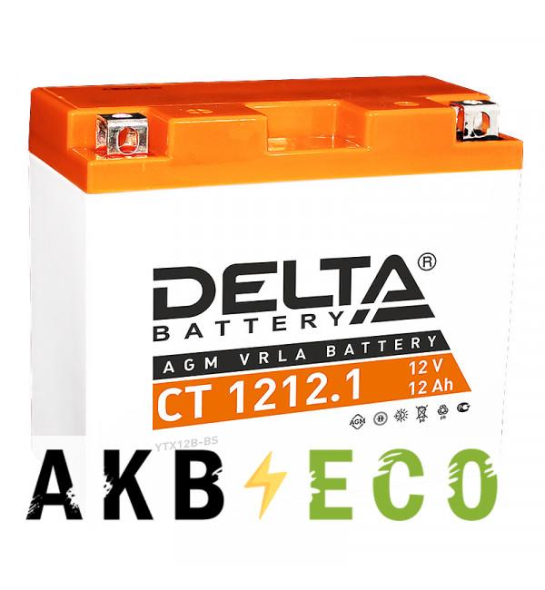 Мотоциклетный аккумулятор Delta CT 1212.1, 12V 12Ah, 155А (150x70x130) YT12B-BS