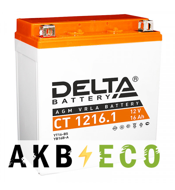 Мотоциклетный аккумулятор Delta CT 1216.1, 12V 16Ah, 230А (150x87x161) YTX16-BS, YB16B-A