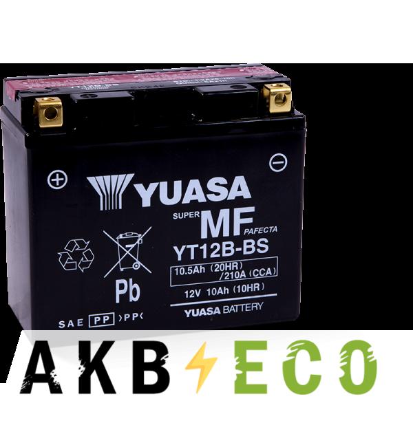Мотоциклетный аккумулятор Yuasa YT12B-BS 12V 10Ah 210А (150x69x130) прям. пол. AGM сухозаряж.