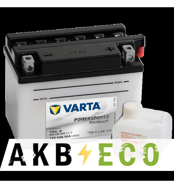 Мотоциклетный аккумулятор VARTA Powersports Freshpack YB4L-B 12V 4Ah 50А (121x71x93) обр. пол. 504 011 002, сухозар.