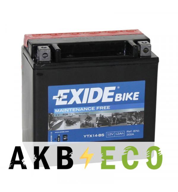 Аккумулятор для скутера Exide AGM сухозаряж. ETX14-BS 12V 12Ah 200A (150x87x145) прям. пол.