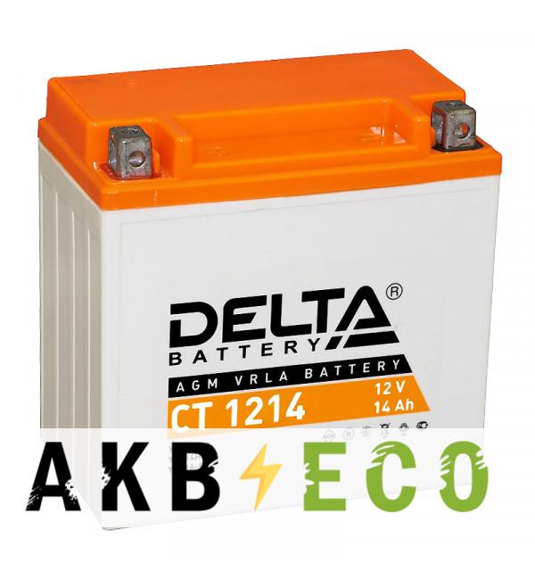 Аккумулятор для скутера Delta CT 1214, 12V 14Ah, 200А (151x88x147) YTX14-BS, YTX14H-BS