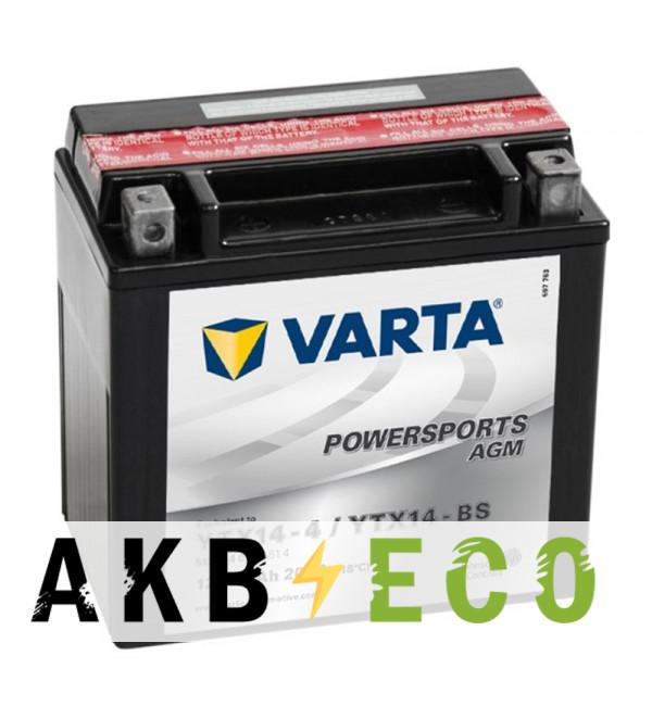 Аккумулятор для скутера VARTA Powersports AGM YTX14-4/YTX14-BS 12V 12Ah 200А (152x88x147) прямая пол. 512 014 010, сухозар.