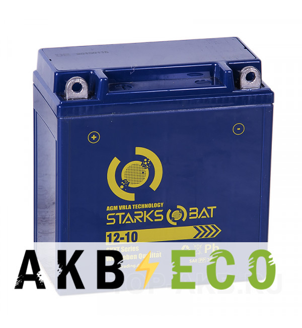 Мотоциклетный аккумулятор STARKS BAT YT 12-10 10 ач +- 135A (137x77x138) YB9A-A, YB9-B AGM