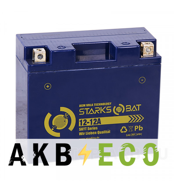 Мотоциклетный аккумулятор STARKS BAT YT S 12-12A 12 ач +- 155A (151x70x131) YTX14-BS, YTX12-BS AGM