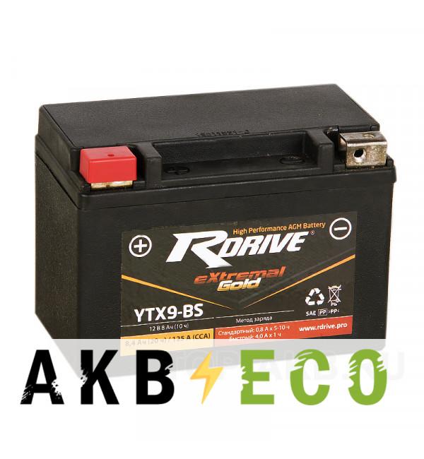 Мотоциклетный аккумулятор RDrive YTX9-BS 12V 8Ah 125А прям. пол. AGM (150x87x105) eXtremal GOLD