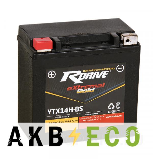 Аккумулятор для скутера RDrive YTX14H-BS 12V 12Ah 230А прям. пол. AGM (150x87x145) eXtremal GOLD