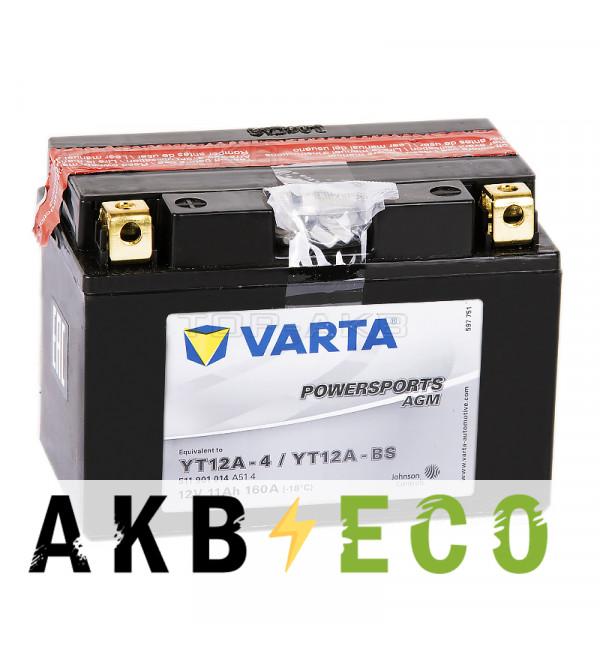 Мотоциклетный аккумулятор VARTA Powersports AGM YT12A-4/YT12A-BS 12V 11Ah 160А (150x88x105) прямая пол. 511 901 014, сухозар.