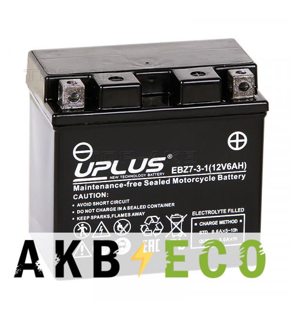 Мотоциклетный аккумулятор Uplus EBZ7-3-1 12V 6Ah 130А обр.пол. (113x70x105) Super Start High Performance AGM