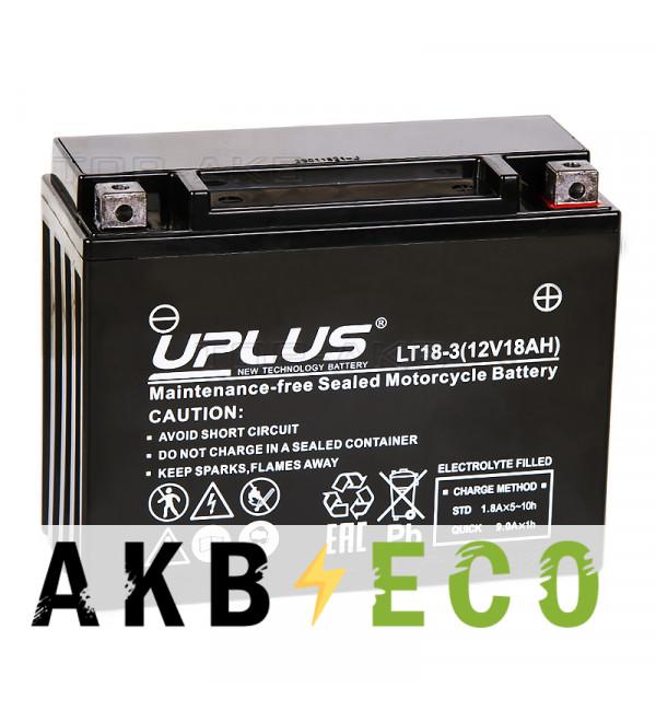 Мотоциклетный аккумулятор Uplus LT18-3 12V 18Ah 250А обр. пол. (205x87x162) Super Start AGM
