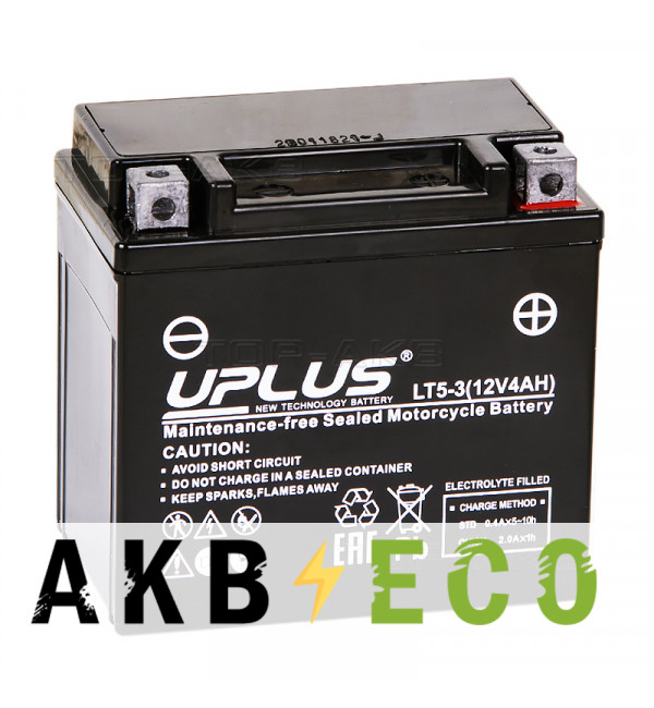 Мотоциклетный аккумулятор Uplus LT5-3 12V 4Ah 70 А обр. пол. (113x70x105) Super Start AGM