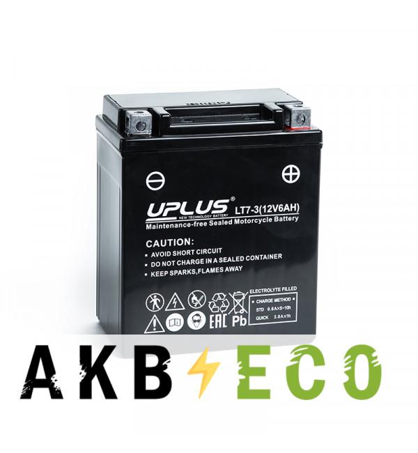 Мотоциклетный аккумулятор Uplus LT7-3 12V 6Ah 85А обр. пол. (113x70x130) Super Start AGM