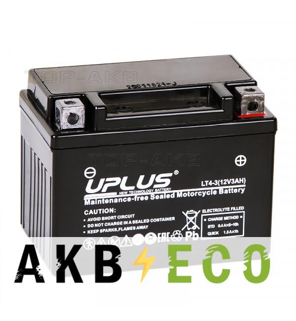 Мотоциклетный аккумулятор Uplus LT4-3 12V 3Ah 50А обр. пол. (113x70x85) Super Start AGM