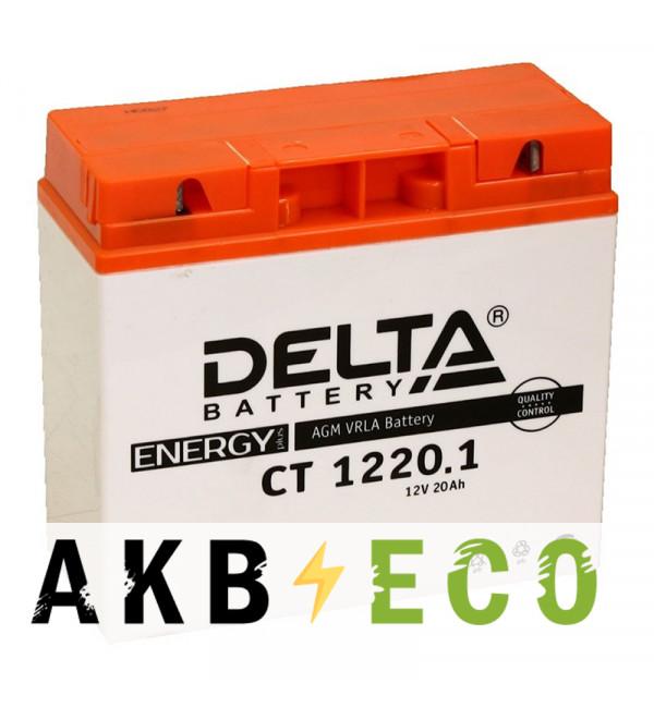 Мотоциклетный аккумулятор Delta CT 1220.1, 12V 20Ah, 260А (181x77x167)