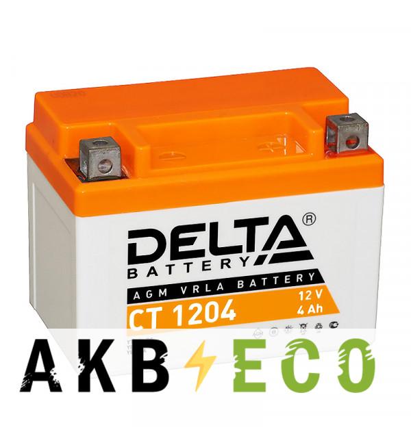 Мотоциклетный аккумулятор Delta CT 1204, 12V 4Ah, 50А (113x70x89) YB4L-B, YB4L-A, YTX4L-BS