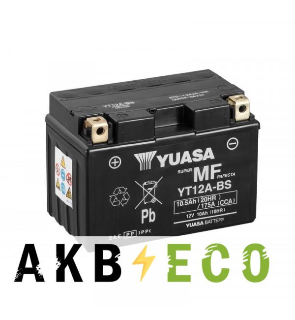 Мотоциклетный аккумулятор Yuasa YT12A-BS - 10 Ач 175А (150x87x105) прям. пол. AGM сухоз.