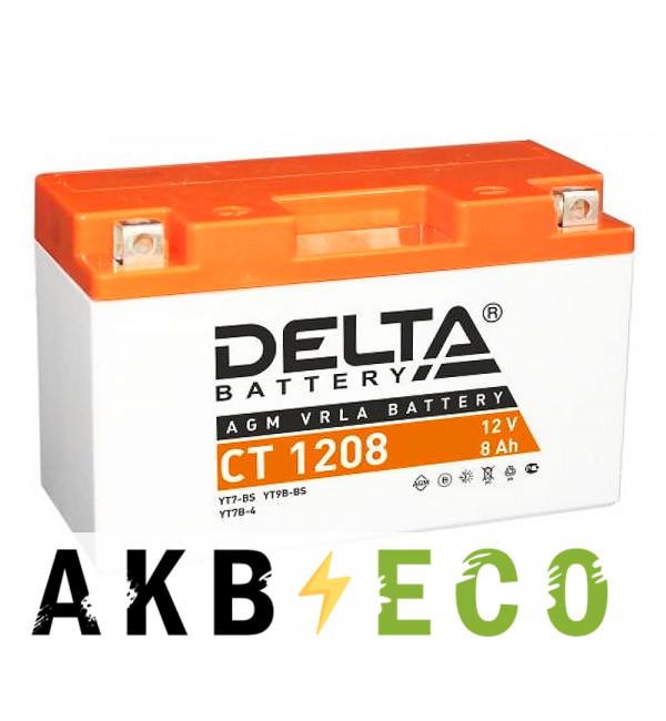 Мотоциклетный аккумулятор Delta CT 1208, 12V 8Ah, 130А (150x66x95) YT7B-BS, YT7B-4