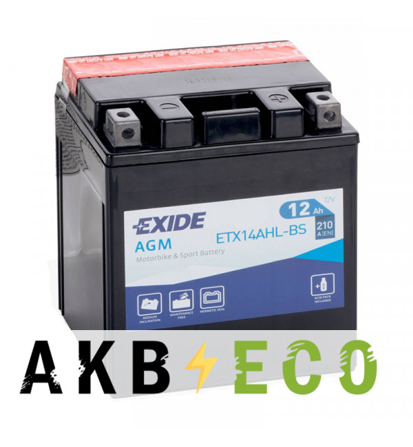 Мотоциклетный аккумулятор Exide AGM сухозаряж. ETX14AHL-BS 12V 12Ah 210A (134x91x164) обр. пол.