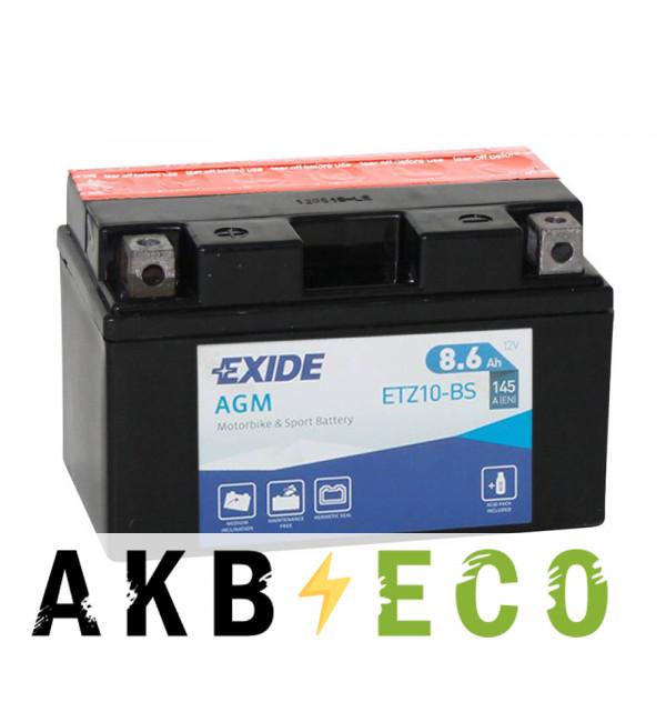 Мотоциклетный аккумулятор Exide AGM сухозаряж. ETZ10-BS 12V 8.6Ah 145A (150x87x93) прям. пол.