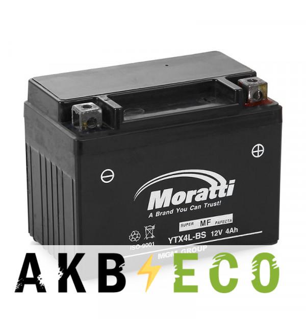 Мотоциклетный аккумулятор Moratti Moto YTX4L-BS - 4 Ач 40А (114x71x86) обр. пол. AGM