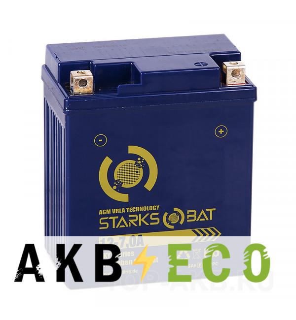 Мотоциклетный аккумулятор STARKS BAT YT 12-7.0A -+ 7 ач 115A (114x71x131) YTX7L-BS AGM