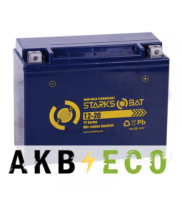 Мотоциклетный аккумулятор STARKS BAT YT S 12-20 21 ач -+ 260A (205x92x164) Y50-N18L-A, Y50-N18L-A3, YTX24HL-BS AGM