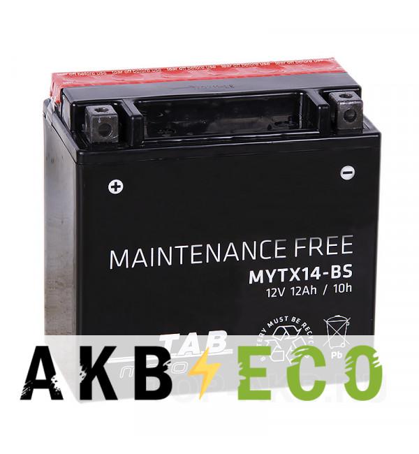 Аккумулятор для скутера TAB Moto Maintenance free MYTX14-BS 12V 12Ah 200A (150х87х145) прям. пол. AGM сухоз.