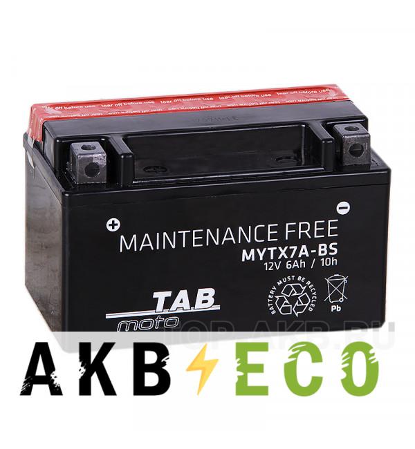 Мотоциклетный аккумулятор TAB Moto Maintenance free MYTX7A-BS 12V 6Ah 90A (150x87x93) прям. пол. AGM сухоз.