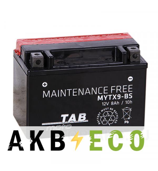 Мотоциклетный аккумулятор TAB Moto Maintenance free MYTX9-BS 12V 8Ah 120A (150х87х105) прям. пол. AGM сухоз.