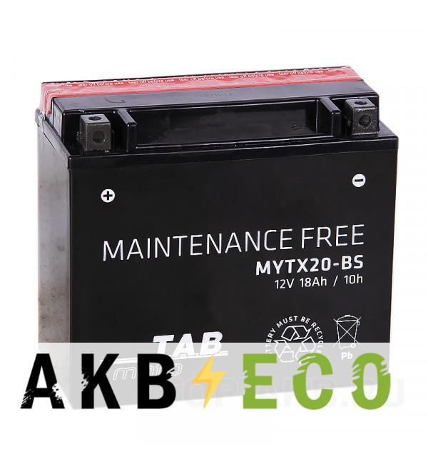 Мотоциклетный аккумулятор TAB Moto Maintenance free MYTX20-BS 12V 18Ah 270A (175х87х155) прям. пол. AGM сухоз.
