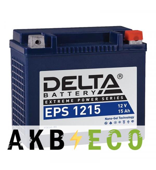 Мотоциклетный аккумулятор Delta EPS 1215, 12V 15Ah, 220А (149x87x144) YTX14L-ВS обратная пол.