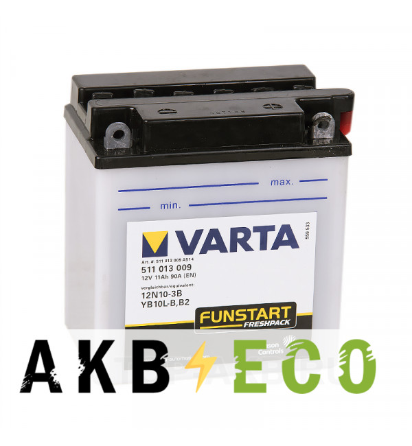Мотоциклетный аккумулятор VARTA Funstart Freshpack YB10L-B /12N10-3B 12V 11Ah 90А (136x91x146) обр. пол. 511 013 009, сухозар.