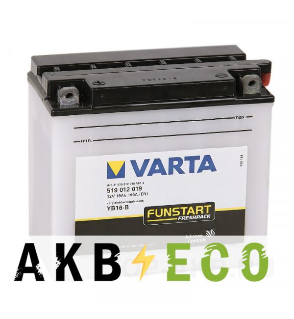 Мотоциклетный аккумулятор VARTA Powersports Freshpack YB16-B 19 Ач 240А (176x101x156) прям. пол. 519 012 019, сухозар.
