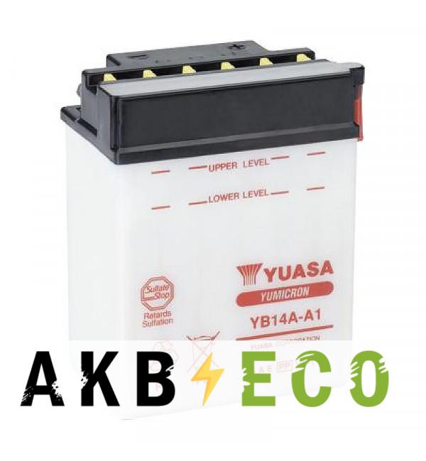 Мотоциклетный аккумулятор Yuasa YB14A-A1 - 14 Ач 175A (134x87x176) прям. пол. Heavy Duty сухозаряж. (без электр.)