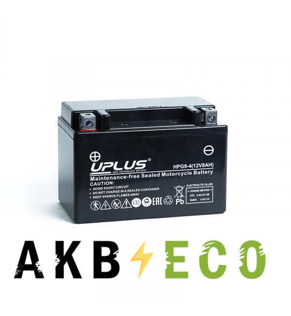 Мотоциклетный аккумулятор Uplus HPG9-4 12V 8Ah 120А прям. пол. (150x87x105) Nano GEL