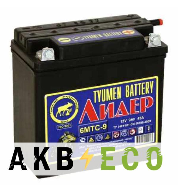 Мотоциклетный аккумулятор TYUMEN BATTERY Лидер 12V 9Ah 45А 140x77x135 сухозаряж. (+электролит 1л)